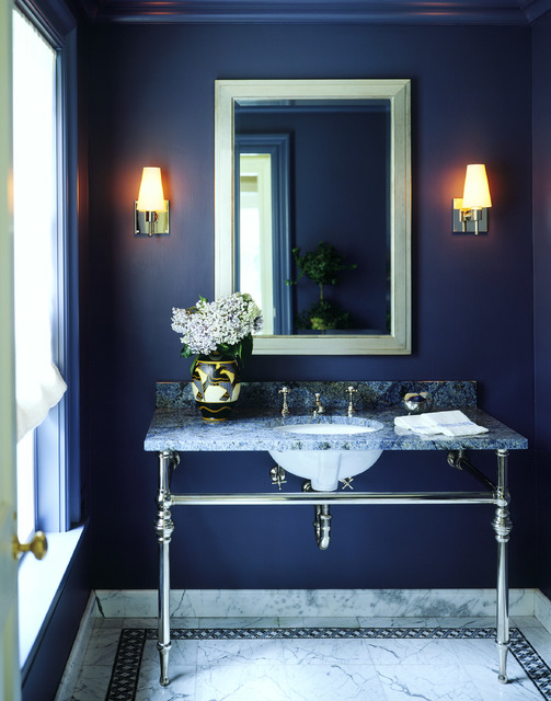 © THE PERFECT BATH BY BARBARA SALLICK, RIZZOLI NEW YORK, 2016 The intensity of the blue hue produces a calm, nearly contemplative environment.