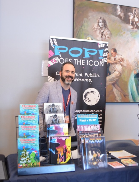 Pop! Goes the Icon founder Pj Perez mans his table at the Vegas Valley Comic Book Festival. Perez was also responsible for organizing the Geekapaloza after-party concert. (Ginger Meurer/Special to ...