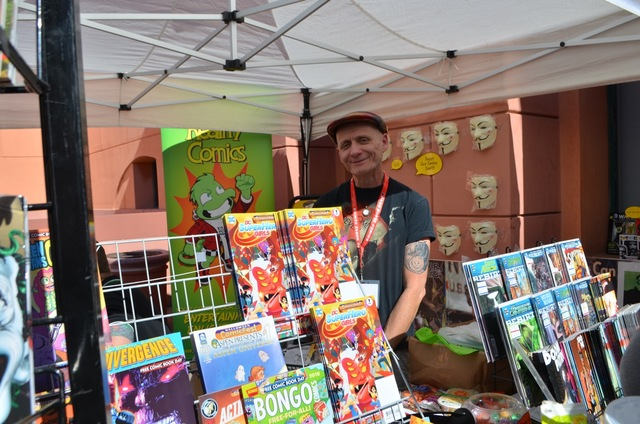 Ralph Mathieu mans his Alternate Reality Comics booth at the Vegas Valley Comic Book Festival, Nov. 4, 2016, at the Clark County Library. (Ginger Meurer/Special to View)