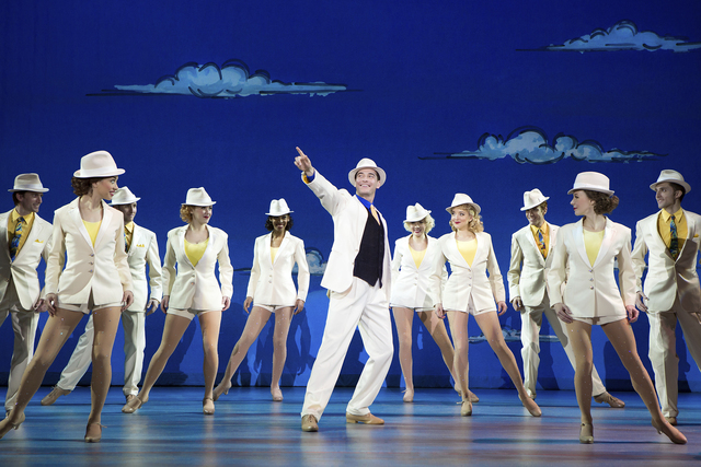 "In ""White Christmas,"" Bob Wallace (Sean Montgomery), center, joins the dancers for ""Blue Skies."" JEREMY DANIEL/COURTESY THE SMITH CENTER FOR THE PERFORMING ARTS"