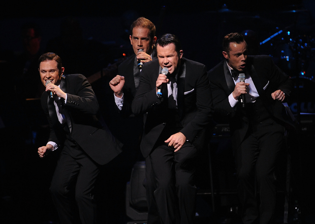 Andrew Tierney, Michael Tierney, Phil Burton and Toby Allen of the music group Human Nature perform on stage at the Apollo Theater Spring Gala and 80th Anniversary Celebration  at the Apollo Theat ...
