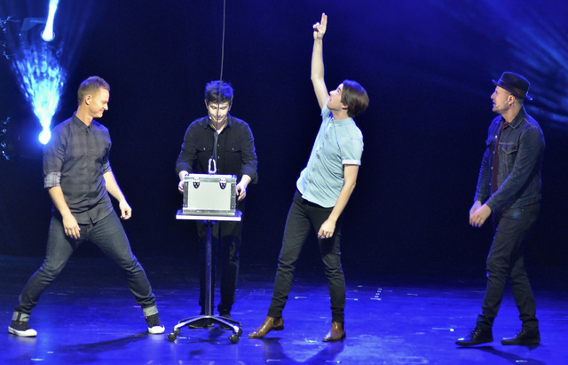 "Magicians, from left, Joel Ward, Stuart MacLeod, Brett Loudermilk and James Galea perform in ""Band of Magicians"" at the Tropicana hotel-casino at 3801 S. Las Vegas Blvd. in Las Vegas ..."