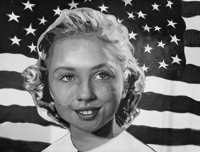 """Artist Lolita Develay depicts Hillary Clinton's girlhood for """"The Final Tally,"""" a free Election Night exhibit and gathering that marks the end of a year-long project. (Diane Bush)"""