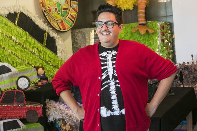 Artist Justin Favela poses inside his studio at the Juhl in downtown Las Vegas, where he's the artist in residence. Richard Brian/Las Vegas Review-Journal Follow @vegasphotograph