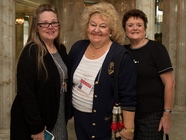 Jolene Davis, Carolyn Lee and Joyce McLouski were part of a group of Liberace fans who visited the entertainer's former Las Vegas home. (Tonya Harvey/Real Estate Millions)