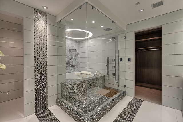 Courtesy of Rahimi Designs The master bath.