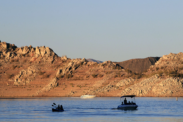 Boats make their way towards the Las Vegas Boat Harbor on Lake Mead. (Review-Journal file photo)