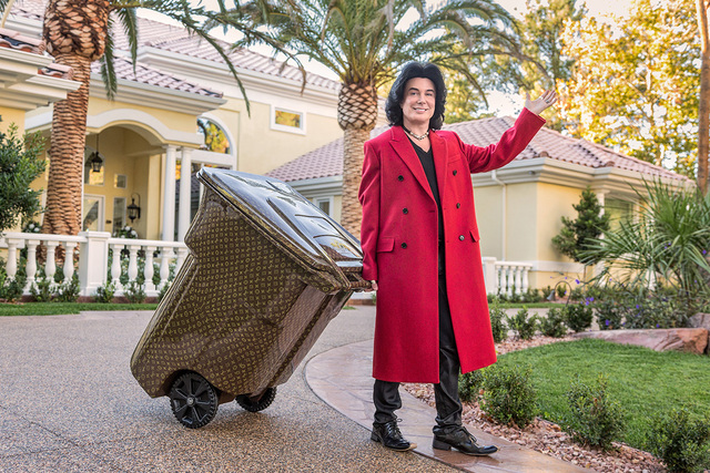 "David Reisman/Real Estate Millions Frank Marino spiffed up his garbage can with a Louis Vuitton logo wrap. ""Every time I put out the garbage that's when I get the most knocks on the door by me ..."