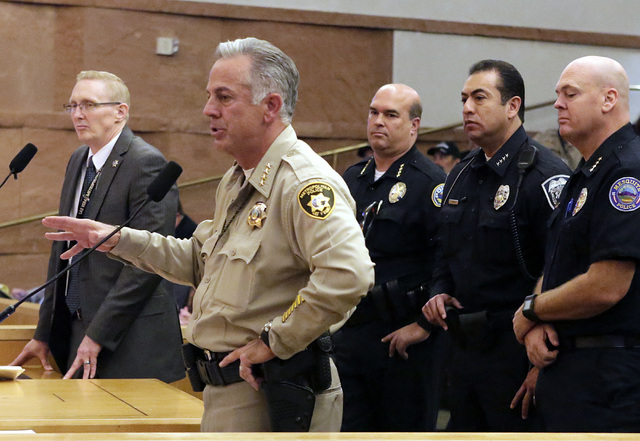 Clark County Sheriff Joe Lombardo speaks during a County Commission meeting, Tuesday, Nov. 15, 2016. Commissioners unanimously approved raising the county's sales tax next year to fund the hiring  ...