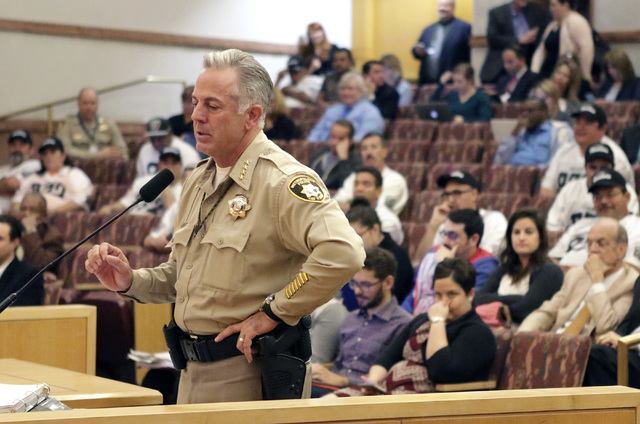 Clark County Sheriff Joe Lombardo speaks during a County Commission meeting Tuesday, Nov. 15, 2016. Commissioners unanimously approved raising the county's sales tax next year to fund the hiring o ...