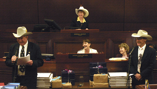 """Nevada Assemblyman John Carpenter, of Elko, left,  helped create the Assembly's informal """"Cowboy Hall of Fame,"""" in 1999. Also pictured are, from right, Sergeant at Arms Terry Sullivan, Assistant C ..."""