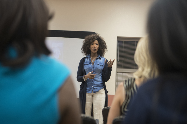Motivational speaker Nyla Christian speaks to community members about the use of naloxone, a drug used to treat opioid overdoses, at the East Las Vegas Community Center Oct. 13, 2016. Loren Townsl ...