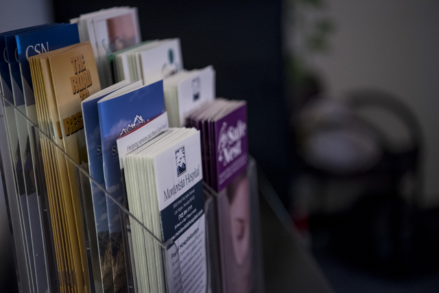 Pamphlets are seen in the counseling and physcological services off at the CSN Charleston Campus on Wednesday, Nov. 2, 2016. (Joshua Dahl/Las Vegas Review-Journal)