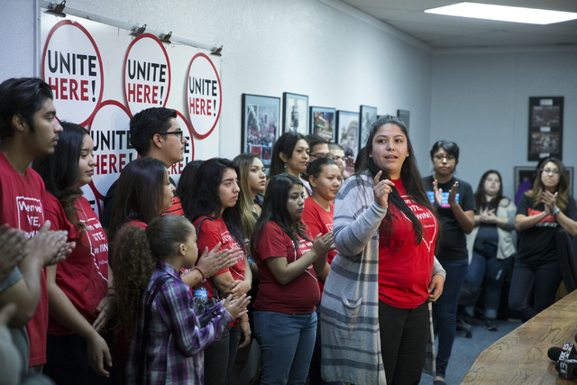 Grecia Lima, national deputy director at Center for Community Change Action, speaks during press conference at the Culinary Union Local 226 headquarters on Wednesday, Nov. 9, 2016, in Las Vegas. E ...