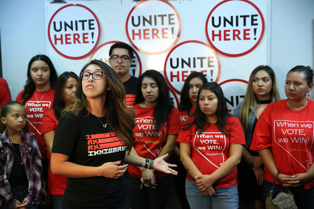 Viridiana Vidal, state director for America's Voice, speaks during press conference at the Culinary Union Local 226 headquarters on Wednesday, Nov. 9, 2016, in Las Vegas. Erik Verduzco/Las Vegas R ...