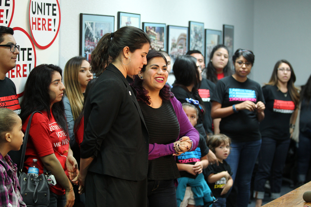 Yvanna Cancela, left, political director for Local 226, and immigration activist Astrid Silva, speak during a press conference at the Culinary Union Local 226 headquarters on Wednesday, Nov. 9, 20 ...