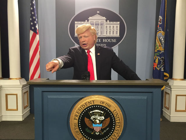 """John Di Domenico is shown playing Donald Trump in a sketch on """"Conan"""" over the summer. (Courtesy"""