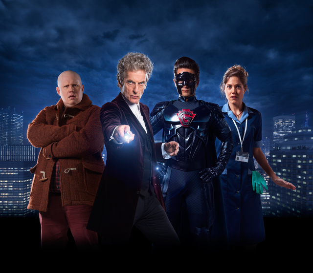"""Picture shows: L-R Matt Lucas, Peter Capaldi, Justin Chatwin and Charity Wakefield in """"The Return of Doctor Mysterio."""" Courtesy BBC America.)"""