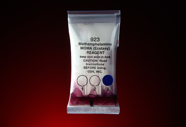 The NarcoPouch drug testing kit Thursday, Oct. 13, 2016. The inexpensive tests are used by Las Vegas police. (David Becker/Las Vegas Review-Journal)