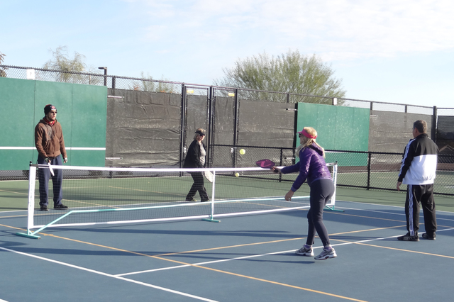 Pickleball players compete in doubles in Las Vegas. (Annie Lynn)