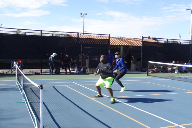 Competitors compete at pickleball. (Annie Lynn)