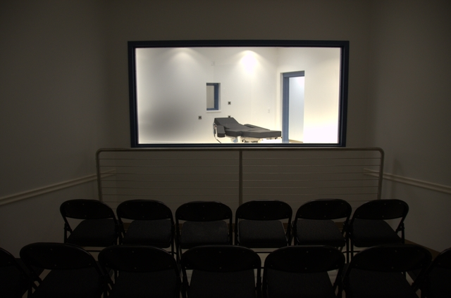 A view of the lethal injection gurney from a witness viewing room on Nov. 10, 2016.   Courtesy the Nevada Department of Corrections