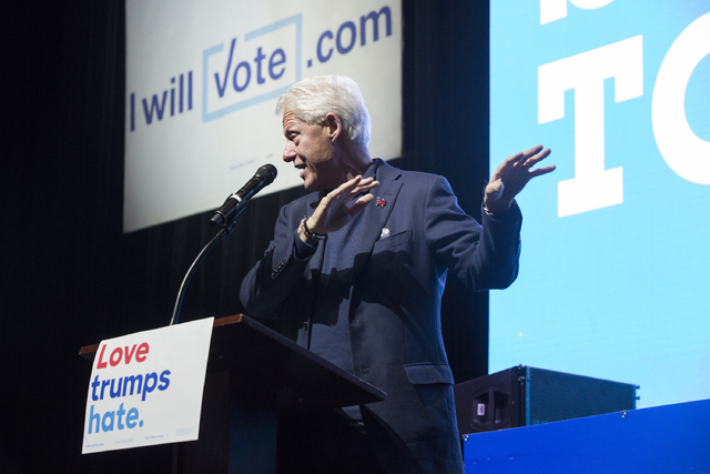Former President Bill Clinton speaks at a rally at Cox Pavilion on Thursday, Nov. 3, 2016, at UNLV, in Las Vegas. The event was a campaign promotion for Democratic presidential nominee Hillary Cli ...
