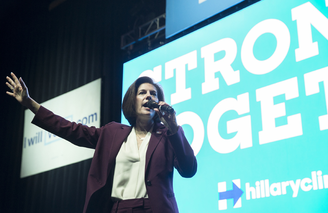 U.S. Senate candidate Catherine Cortez Masto speaks at a rally for Democratic presidential nominee Hillary Clinton at Cox Pavilion on Thursday, Nov. 3, 2016, at UNLV, in Las Vegas.  Benjamin Hager ...