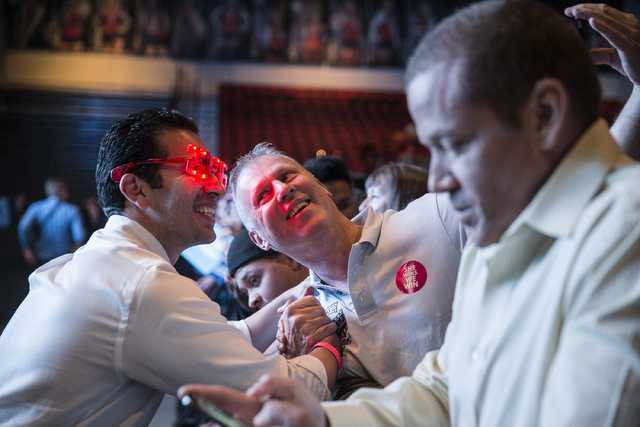 State Senator Ruben Kihuen, D-Nevada, left, takes a selfie with Fortunato Micelli at a rally for Democratic presidential nominee Hillary Clinton at Cox Pavilion on Thursday, Nov. 3, 2016, at UNLV, ...