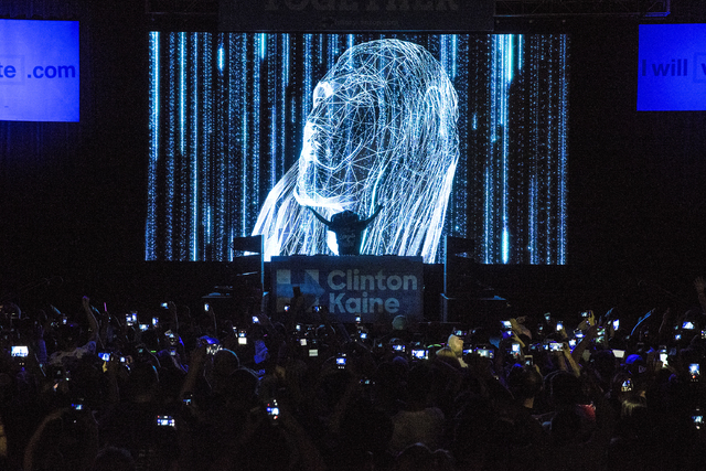 Musician/philanthropist Steve Aoki performs at a rally for Democratic presidential nominee Hillary Clinton at Cox Pavilion on Thursday, Nov. 3, 2016, at UNLV, in Las Vegas.  Benjamin Hager/Las Veg ...