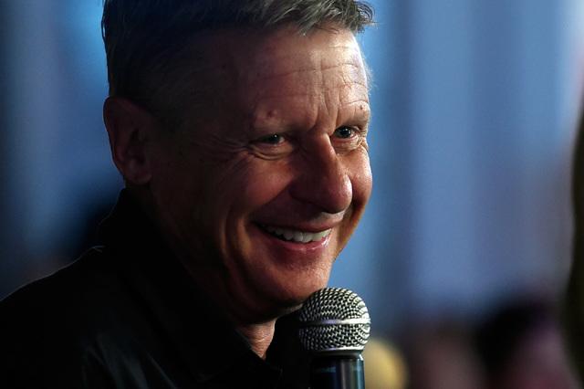 Libertarian presidential candidate Gary Johnson is interviewed at Beer Park at the Paris Las Vegas, Tuesday, Oct. 18, 2016, in Las Vegas. (David Becker/Las Vegas Review-Journal Follow @davidjaybecker)
