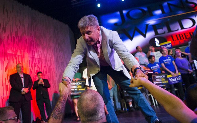 Libertarian presidential candidate Gary Johnson greets supporters during a campaign rally at the SLS hotel-casino in Las Vegas on Thursday, Aug. 18, 2016. (Chase Stevens/Las Vegas Review-Journal F ...