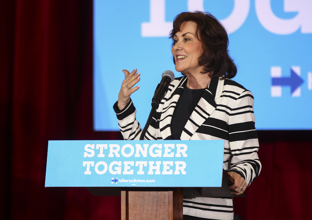 Jacky Rosen, Democratic nominee for the 3rd Congressional District, introduces vice presidential candidate Sen. Tim Kaine, D-Va., during a campaign event in Henderson, Oct. 7, 2016. (Chase Stevens ...