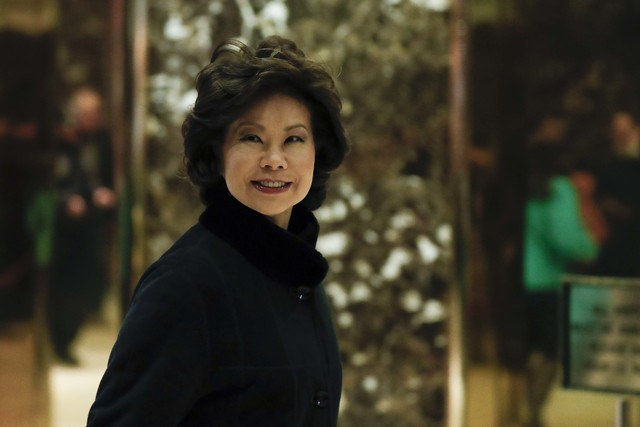 Former Labor Secretary Elaine Chao arrives at Trump Tower, Monday, Nov. 21, 2016, in New York, to meet with President-elect Donald Trump. (Carolyn Kaster/AP)