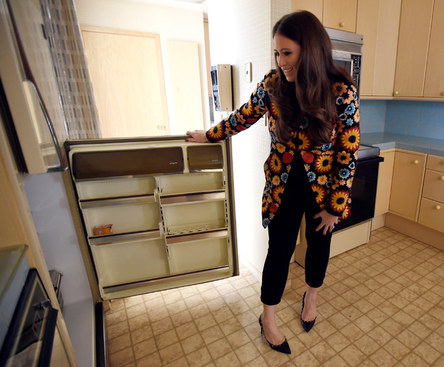 Hotel co-owner Alexandra Epstein Gudai tours the kitchen of the Jackie Gaughan Suite at the El Cortez, Thursday, Oct. 27, 2016, in Las Vegas. The family-owned downtown hotel-casino is celebrating  ...