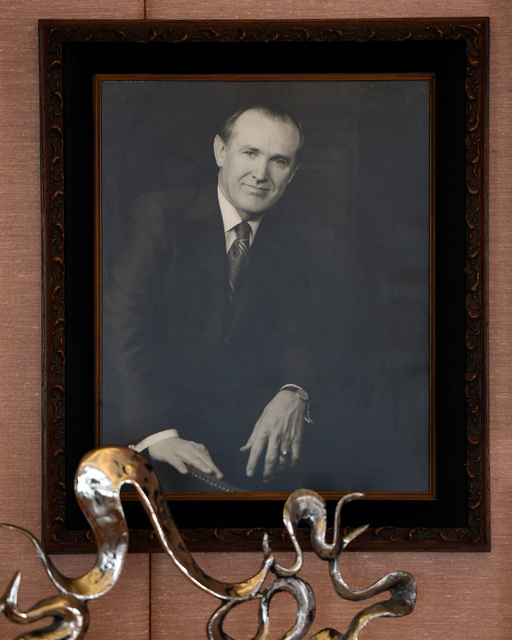 A portrait of the late Jackie Gaughan hangs in the Jackie Gaughan Suite at the El Cortez, Thursday, Oct. 27, 2016, in Las Vegas. The family-owned downtown hotel-casino will be celebrating its 75th ...