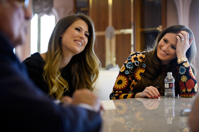 Hotel co-owners Katie Epstein Fine, left, and her sister Alexandra Epstein Gudai share their thoughts in the Jackie Gaughan Suite at the El Cortez, Thursday, Oct. 27, 2016, in Las Vegas. The famil ...