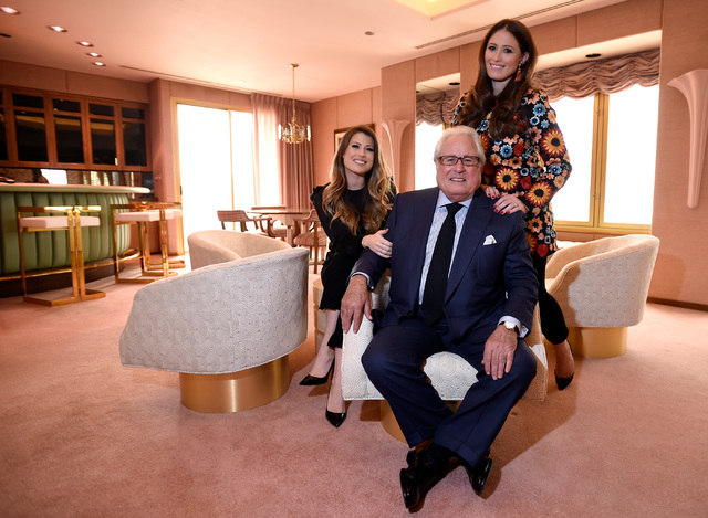 Hotel co-owners Katie Epstein Fine, left, Kenny Epstein and Alexandra Epstein Gudai in the Jackie Gaughan Suite at the El Cortez, Thursday, Oct. 27, 2016, in Las Vegas. The family-owned downtown h ...