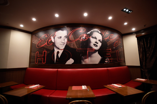 An image of Bugsy Siegel hangs on the wall of his namesake restaurant at the El Cortez, Thursday, Oct. 27, 2016, in Las Vegas. The family-owned downtown hotel-casino will be celebrating its 75th a ...