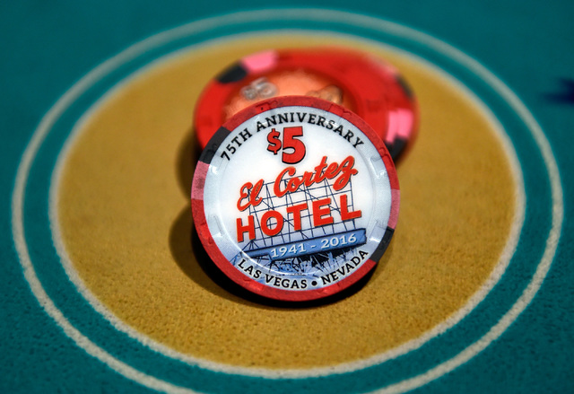Specially designed poker chips celebrate the 75th anniversary at the El Cortez, Thursday, Oct. 27, 2016, in Las Vegas. David Becker/Las Vegas Review-Journal Follow @davidjaybecker