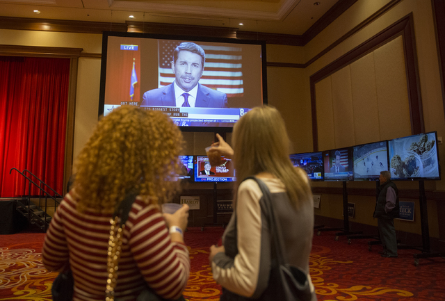 "Trump supporters track results at an election night event hosted by the Nevada Republican Party at South Point hotel-casino on Tues, Nov. 8, 2016, in Las Vegas. ""I've been inspired since  ..."