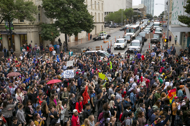 Anti-Trump protesters march along Congress Avenue in Austin, Texas, on Wednesday November 9, 2016. Hundreds of University of Texas students march through downtown Austin in protest of Donald Trump ...