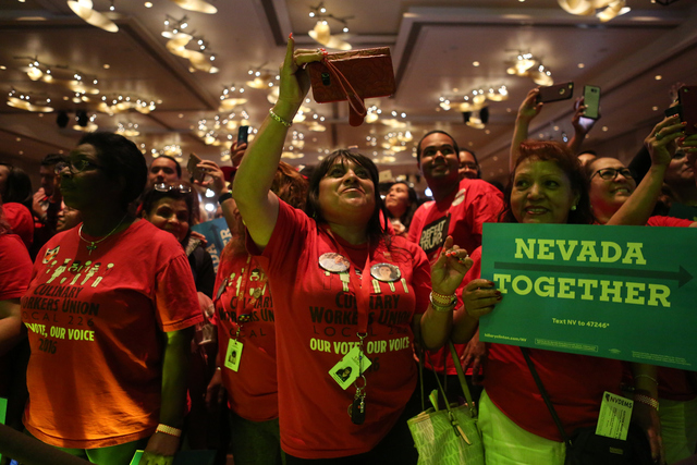 Fans cheer on Los Tigres Del Norte during the Nevada State Democratic Party at Aria Hotel-Casino in Las Vegas, Tuesday, Nov. 8, 2016. Elizabeth Brumley/Las Vegas Review-Journal Follow @elipagephoto