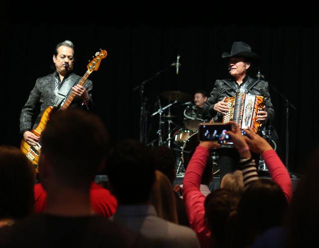 Los Tigres Del Norte perform during the Nevada State Democratic Party at Aria Hotel-Casino in Las Vegas, Tuesday, Nov. 8, 2016. Elizabeth Brumley/Las Vegas Review-Journal Follow @elipagephoto