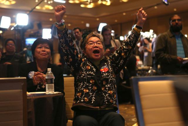Josefina Beck of Las Vegas cheers an early election result during the Nevada State Democratic Party at Aria Hotel-Casino in Las Vegas, Tuesday, Nov. 8, 2016. Elizabeth Brumley/Las Vegas Review-Jou ...
