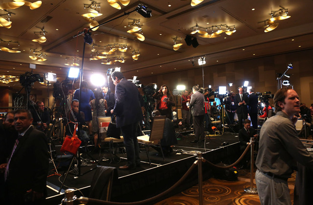 A horde of media outlets gather during the Nevada State Democratic Party at Aria Hotel-Casino in Las Vegas, Tuesday, Nov. 8, 2016. Elizabeth Brumley/Las Vegas Review-Journal Follow @elipagephoto