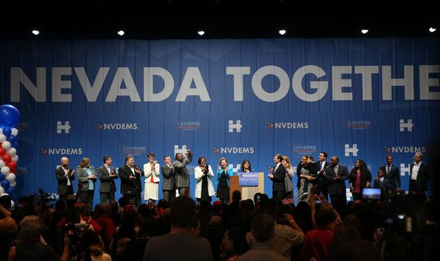 Members of the Nevada Democratic Party celebrate during the Nevada State Democratic Party at Aria Hotel-Casino in Las Vegas, Tuesday, Nov. 8, 2016. Erik Verduzco/Las Vegas Review-Journal Follow @E ...