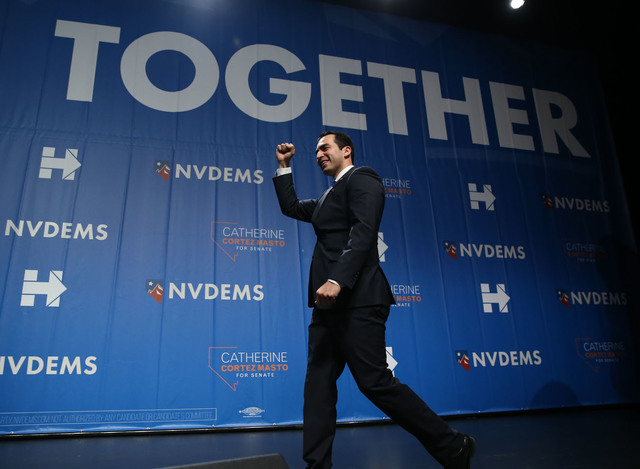 Senator elect Ruben Kihuen takes the stage during the Nevada State Democratic Party at Aria Hotel-Casino in Las Vegas, Tuesday, Nov. 8, 2016. Erik Verduzco/Las Vegas Review-Journal Follow @Erik_Ve ...