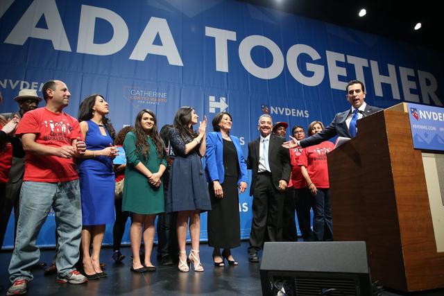 Senator elect Ruben Kihuen speaks during the Nevada State Democratic Party at Aria Hotel-Casino in Las Vegas, Tuesday, Nov. 8, 2016. Erik Verduzco/Las Vegas Review-Journal Follow @Erik_Verduzco