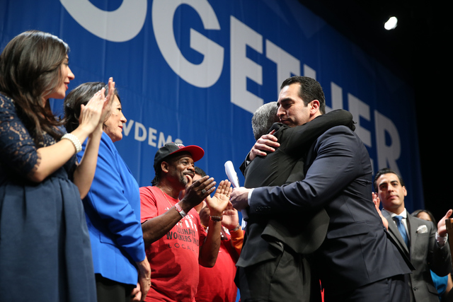 Senator elect Ruben Kihuen, right, hugs his father Armando during the Nevada State Democratic Party at Aria Hotel-Casino in Las Vegas, Tuesday, Nov. 8, 2016. Erik Verduzco/Las Vegas Review-Journal ...